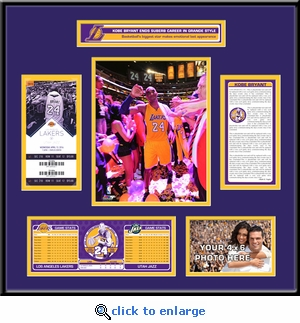 Kobe Bryant Final NBA Game Ticket Frame - Lakers