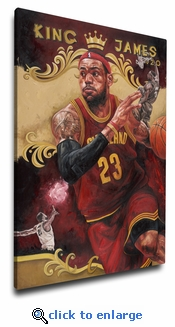 LeBron James 12x18 Art Reproduction on Canvas by Justyn Farano - Cleveland Cavaliers