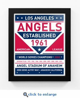 Los Angeles Angels Dual Tone Team Sign Print Framed