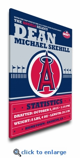 Los Angeles Angels Personalized Canvas Birth Announcement - Baby Gift