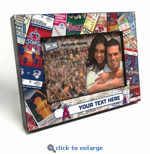 Los Angeles Angels Personalized Ticket Collage Black Wood Edge 4x6 inch Picture Frame