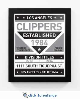 Los Angeles Clippers Black and White Team Sign Print Framed