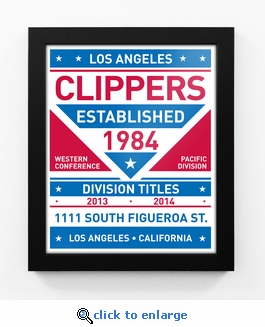 Los Angeles Clippers Dual Tone Team Sign Print Framed