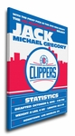 Los Angeles Clippers Personalized Canvas Birth Announcement - Baby Gift