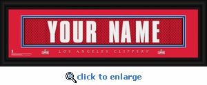 Los Angeles Clippers Personalized Stitched Jersey Nameplate Framed Print