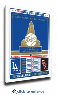 Los Angeles Dodgers 1959 World Series Champions Vintage Canvas Print
