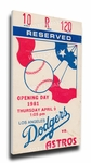 Los Angeles Dodgers 1981 Opening Day / Fernando Valenzuela First Career Start Canvas Mega Ticket
