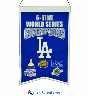 Los Angeles Dodgers 5-Time World Series Champions Wool Banner (14 x 22)