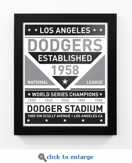 Los Angeles Dodgers Black and White Team Sign Print Framed