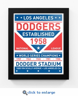 Los Angeles Dodgers Dual Tone Team Sign Print Framed