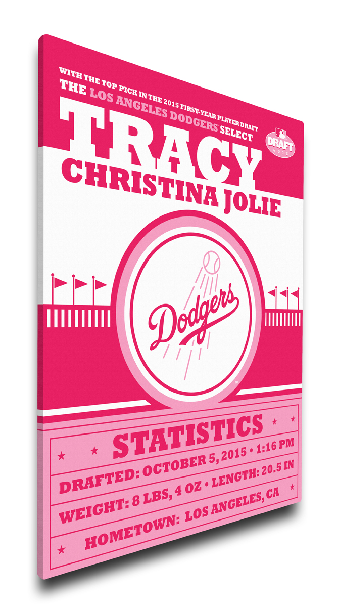 Los angeles dodgers personalized canvas birth announcement baby gift negle Image collections