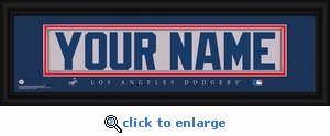 Los Angeles Dodgers Personalized Stitched Jersey Nameplate Framed Print