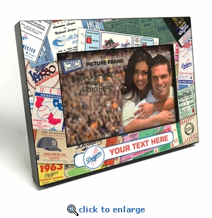 Los Angeles Dodgers Personalized Ticket Collage Black Wood Edge 4x6 inch Picture Frame