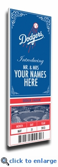 Los Angeles Dodgers Personalized Special Occasion Announcement on Canvas - Ticket Design
