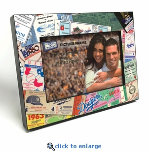 Los Angeles Dodgers Ticket Collage Black Wood Edge 4x6 inch Picture Frame
