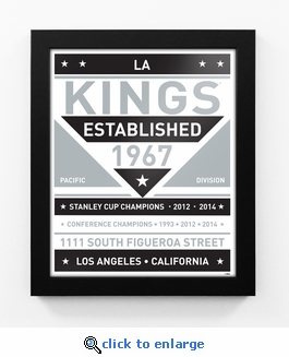 Los Angeles Kings Black and White Team Sign Print Framed