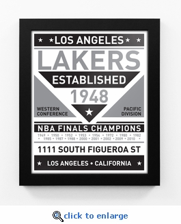Los Angeles Lakers Black and White Team Sign Print Framed