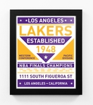 Los Angeles Lakers Dual Tone Team Sign Print Framed