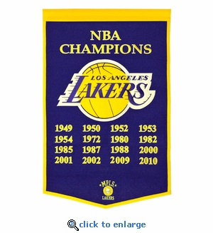 Los Angeles Lakers NBA Champions Dynasty Wool Banner (24 x 36)