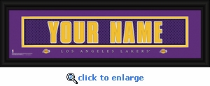 Los Angeles Lakers Personalized Stitched Jersey Nameplate Framed Print