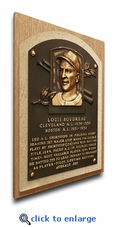 Lou Boudreau Baseball Hall of Fame Plaque on Canvas - Cleveland Indians