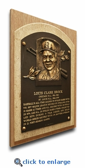 Lou Brock Baseball Hall of Fame Plaque on Canvas - St Louis Cardinals