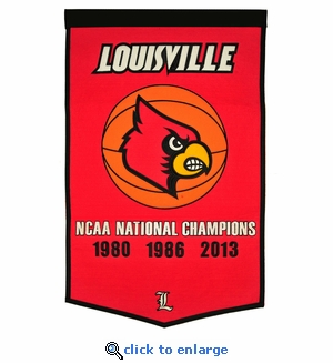 Louisville Cardinals National Champions Dynasty Wool Banner (24 X 36)