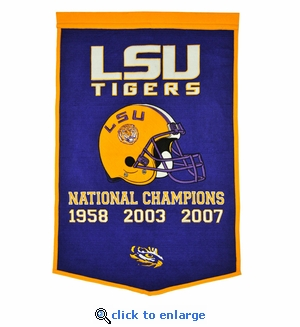 LSU Tigers National Champions Dynasty Wool Banner (24 X 36)