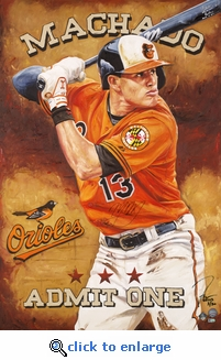 Manny Machado Autographed Hand Embellished Artist Recreation on Canvas by Justyn Farano - Orioles