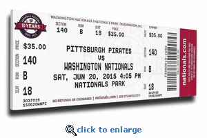 Max Scherzer First No-Hitter (6/20/15) Canvas Mega Ticket - Nationals