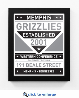 Memphis Grizzlies Black and White Team Sign Print Framed