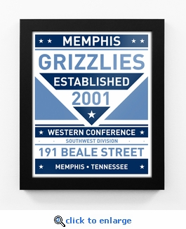 Memphis Grizzlies Dual Tone Team Sign Print Framed
