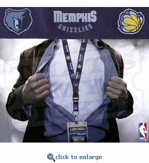 Memphis Grizzlies NBA Lanyard Key Chain and Ticket Holder - Blue