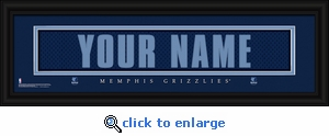 Memphis Grizzlies Personalized Stitched Jersey Nameplate Framed Print