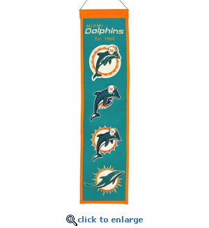 Miami Dolphins Heritage Wool Banner (8 x 32)