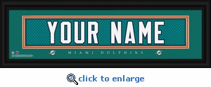 Miami Dolphins Personalized Stitched Jersey Nameplate Framed Print