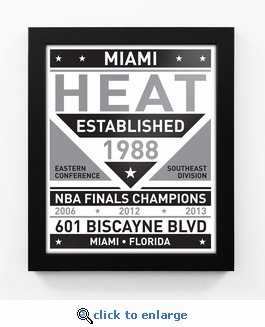 Miami Heat Black and White Team Sign Print Framed
