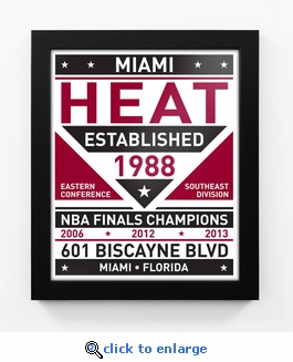 Miami Heat Dual Tone Team Sign Print Framed