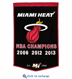 Miami Heat NBA Champions Dynasty Wool Banner (24 x 36)