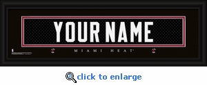 Miami Heat Personalized Stitched Jersey Nameplate Framed Print