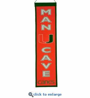 Miami Hurricanes Man Cave Wool Banner (8 x 32)