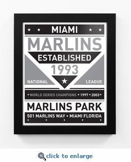 Miami Marlins Black and White Team Sign Print Framed