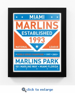 Miami Marlins Dual Tone Team Sign Print Framed