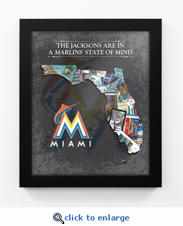 Miami Marlins Personalized State of Mind Framed Print - Florida