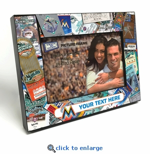 Miami Marlins Personalized Ticket Collage Black Wood Edge 4x6 inch Picture Frame