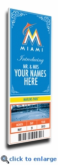Miami Marlins Personalized Special Occasion Announcement on Canvas - Ticket Design