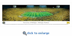 Michigan Wolverines Football - Under The Lights - 2013 50 Yard Line - Panoramic Photo (13.5 x 40)