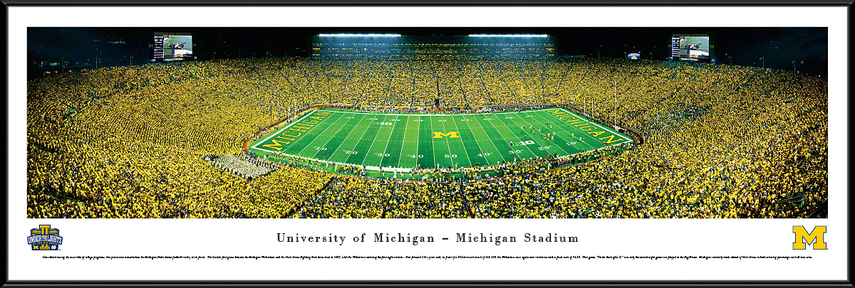 Michigan Wolverines Football Under The Lights 2013 50 Yard Line