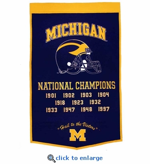 Michigan Wolverines  National Champions Dynasty Wool Banner (24 X 36)