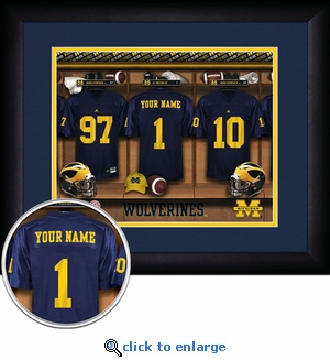 Michigan Wolverines Personalized Football Locker Room Print